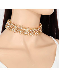 Vintage Champagne Hollow Out Flower Shape Decorated Simple Choker