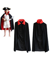 Exaggerated Black+red Color Matching Decorated Shirt Shape Halloween Cloak