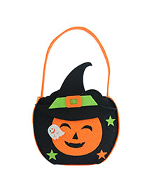Exaggerated Black Pumpkin Shape Decorated Simple Halloween Candy Bag