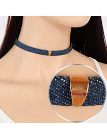 Vintage Dark Blue Geometric Metal Decorated Pure Color Choker