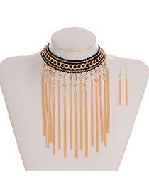 Bohemmia Gold Color Round Shape Decorated Long Chain Jewelry Sets