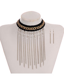 Bohemmia Silver Color Round Shape Decorated Long Chain Tassel Jewelry Sets