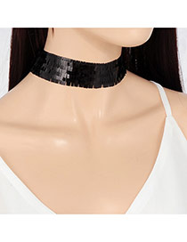 Fashion Black Pure Color Decorated Simple Wide Choker