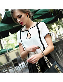 Casual White Color Matching Design Short Sleeve Hollow Out Chiffon T-shirt
