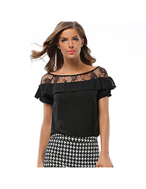 Casual Black Pure Color Design Short Sleeve Hollow Out Chiffon Blouse