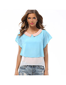 Lovely Blue Color Matching Design Doll Collar Short Sleeve Chiffon Blouse