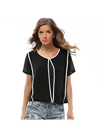 Fashion Black Color Matching Design Round Neckline Short Sleeve Chiffon Blouse
