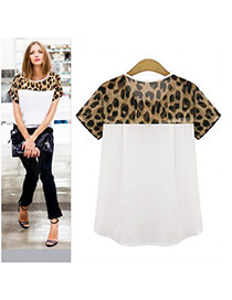 Fashion White Leopard Print Pattern Decorated Short Sleeve Patchwork Chiffon T-shirt