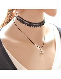 Vintage Black Triangle Pendant Decorated Double Layer Choker