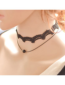 Vintage Black Beads Pendant Decorated Double Layer Choker
