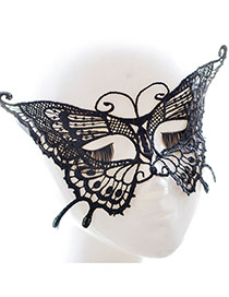 Vintage Black Hollow Out Flower Decorated Butterfly-shaped Party Mask