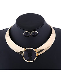 Exaggerate Black Round Shape Diamond Decorated Simple Jewelry Sets
