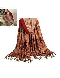 Bohemia Claret-red Printing Flower Pattern Decorated Tassel Scarf