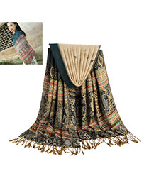 Bohemia Dark Green Printing Flower Pattern Decorated Tassel Scarf