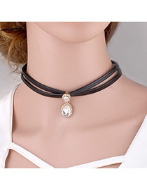 Elegant White Waterdrop Gemstone Pendant Decorated Double Layer Choker