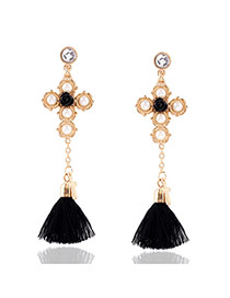 Elegant Gold Color Tassel Pendant Decorated Long Simple Earrings