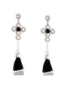 Elegant Silver Color Tassel Pendant Decorated Long Simple Earrings