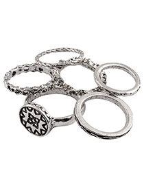Vintage Silver Color Round Shape Decorated Pure Color Simple Rings(6pcs)