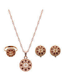 Delicate Gold Color +red Round Shape Pendant Decorated Long Chain Jewelry Sets