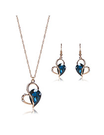 Elegant Blue Oval Shape Diamond Decorated Long Chain Jewelry Sets