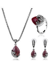 Elegant Red Diamond Decorated Oval Shape Design Simple Jewelry Sets