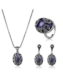 Delicate Sapphire Blue Oval Shape Gemstone Pendant Decorated Long Chain Jewelry Sets