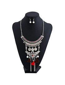 Bohemia Multi-color Metal Round Shape & Tassel Decorated Multilayer Jewelry Sets
