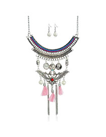 Bohemia Pink Metal Round Shape & Tassel Decorated Multilayer Jewelry Sets