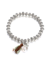 Bohemia Silver Color Tassel&metal Round Shape Pendant Decorated Simple Bracelet