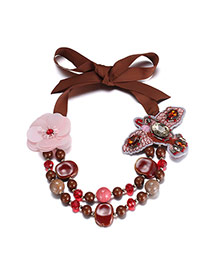 Exaggerate Coffee Bird&flower Decorated Double Layer Simple Necklace