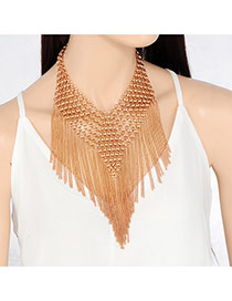 Elegant Gold Color Long Tassle Pendant Decorated Hollow Our Jewelry Sets