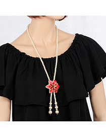 Elegant Red Flower&tassle Pendant Decorated Long Chain Necklace