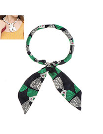 Sweet Green+navy Blue Cartoon Pattern Decorated Bowknot Shape Multi-function Scarf
