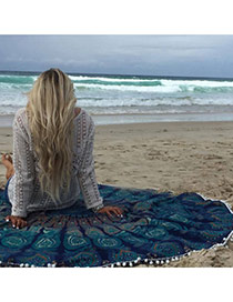 Fashion Navy Blue Regular Geometric Pattern Decorated Tassel Yoga Mat&shawl