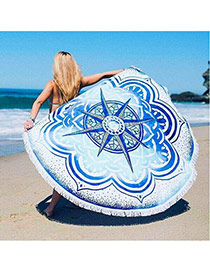 Fashion White+blue Geometric Flowe Pattern Decorated Tassel Yoga Mat&shawl