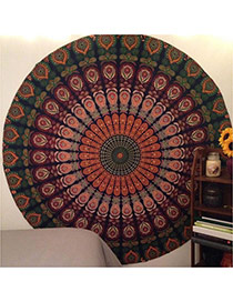 Fashion Green Peacock Flower Pattern Decorated Round Shape Shawl