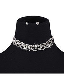Fashion Silver Color Round Shape Diamond Decorated Hollow Out Jewelry Sets