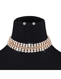 Fashion Gold Color Round Shape Diamond Decorated Hollow Out Jewelry Sets
