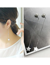 Temperamental Silver Color Star Shape Pendant Decorated Tassle Earring