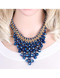 Elegant Sapphire Blue Oval Shape Gemstone Weaving Decorated Short Chain Necklace