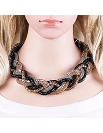 Bohemia Black Color Matching Decorated Hand-woven Design Necklace