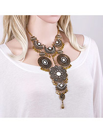 Exaggerated Antique Gold Cion&geometric Shape Decorated Tassel Short Chain Necklace