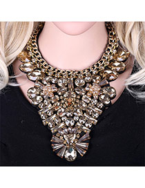 Luxury Champagne Geometric Diamond Weaving Decorated Short Chain Necklace