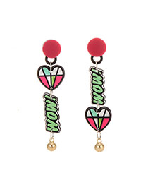Cute Multi-color Letter&heart Shape Pendant Decorated Cartoon Earring