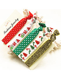 Sweet Multi-color Christmas Series Pattern Decorated Knot Hair Band (5pcs)