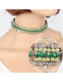 Vintage Green Round Gemstone Decorated Hollow Out Choker