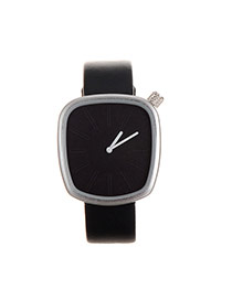 Fashion Dark Blue Square Shape Dial Plate Design Pure Color Strap Simple Watch