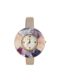 Fashion Gray Round Shape Dial Plate Design Color Matching Watch