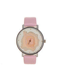 Elegant Pink Hollow Out Pattern Decorated Pure Color Strap Watch