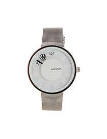 Exaggerated White Graffiti Pattern Decorated Pure Color Strap Watch